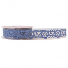 Washi Tape Brillo Flor Azul