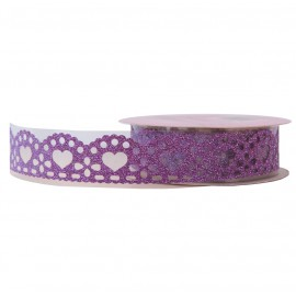 Washi Tape Brillo Corazon Morado