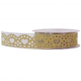 Washi Tape Brillo Corazon Oro