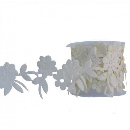 Cinta Poliester Flores Caladas Beige A4