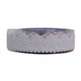 Washi Tape Blanco Flores
