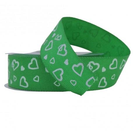 Cinta Faya Corazones Verde 25mm
