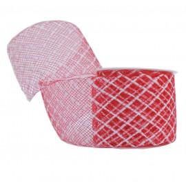 Cinta Elastica Cuadros 40mm Rojo