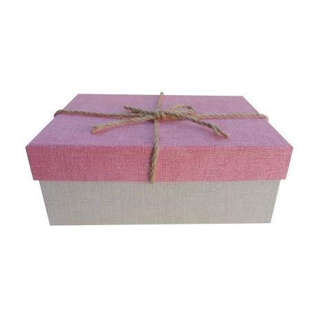 Caja Rosa Cuerdas 20x8 cm
