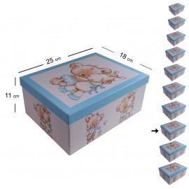Cajita Osito Caballito Celeste 25x18 cm