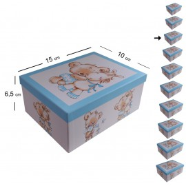 Cajita Osito Caballito Celeste 15x10 cm