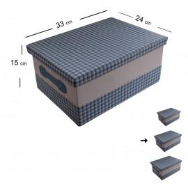 Caja Forrada Tela Azul 33x24 cm