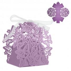 Cajita Papel Calada Mariposa Purpura