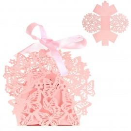 Cajita Papel Calada Mariposa Rosa