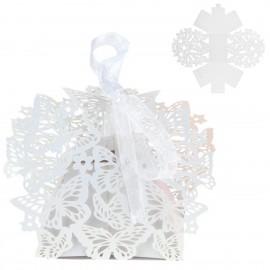 Cajita Papel Calada Mariposa Blanca