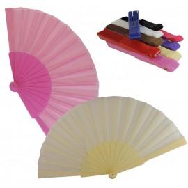 Abanico Plastico / Tela Colores 23 cm