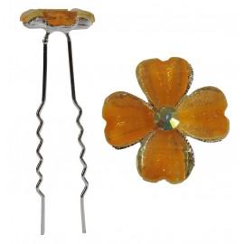 Horquilla Trebol 4 Hojas Naranja Ø 6,5 cm