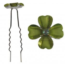 Horquilla Trebol 4 Hojas Verde Ø 6,5 cm