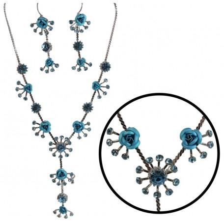 Collar y Pendientes Rosas Celestes Diamantes