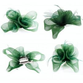 Tocado Verde 3 Rosas c/ Plumas 17x13