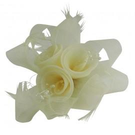 Tocado Beige 3 Rosas c/ Plumas Ø12 cm