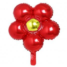 Globo Foil Ø44 Flores Rojo/Amarillo