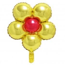Globo Foil Ø44 Flores Dorado/Rojo