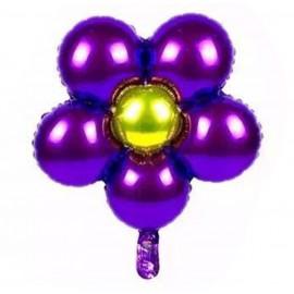 Globo Foil Ø44 Flores Purpura/Dorado