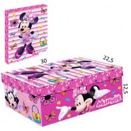 Caja Carton Minnie Corazon Rosa 30x22.5 cm
