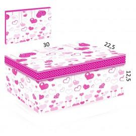 Caja Carton Corazones Rosa 30x22.5 cm