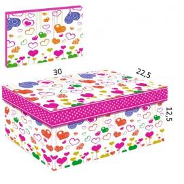 Caja Carton Corazones Colores 30x22.5 cm