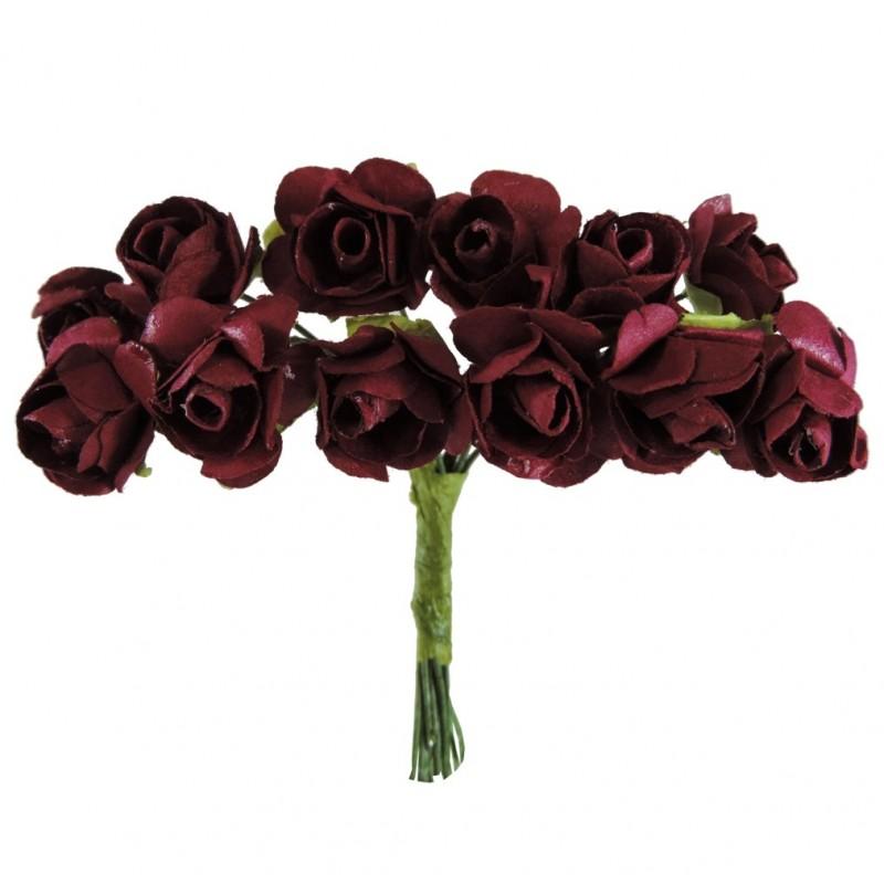 Mini Rosa Papel Ø 20 mm Burdeos (12 ud)