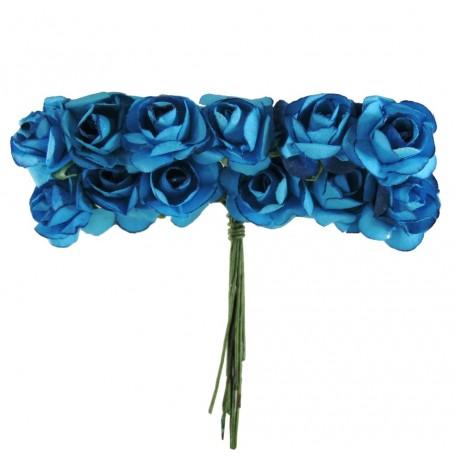 Mini Rosa Papel Ø 20 mm Azul (12 ud)