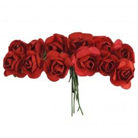 Mini Rosa Papel Ø 20 mm Rojo (12 ud)