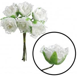 Mini Ramillete Rosa Encaje (6 ud) Blanco