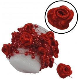 Guirnalda Perla y Rosa Seda Roja 5mts