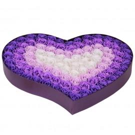 Caja Corazon con 100 Rosas Jabon Lila