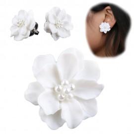 Pendientes Flores Magnolia Blanco