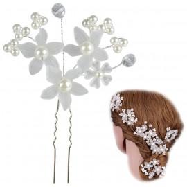 Horquilla Perlas Flores x3 Plata