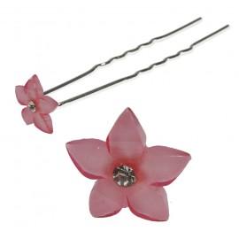 Horquilla Flor Crystal 20mm Rosa