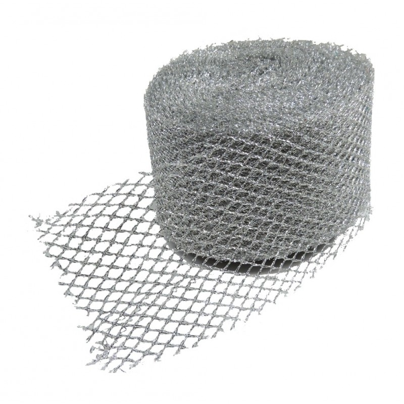 Malla Cuadros Brillante Purpurina ↕ 5 cm Plata