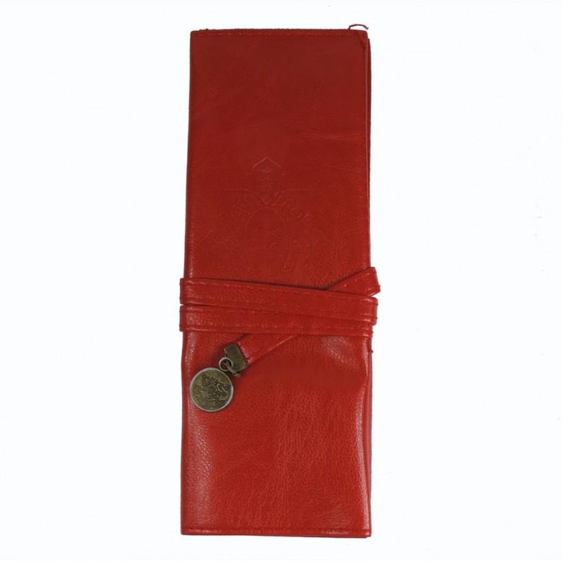 Bolso Maquillaje / Portalapices Cuero Rojo