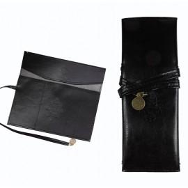Bolso Maquillaje / Portalapices Cuero Negro