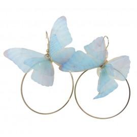 Pendientes Mariposa Aro/Perla ↕ 5.5 cm Azul (par)