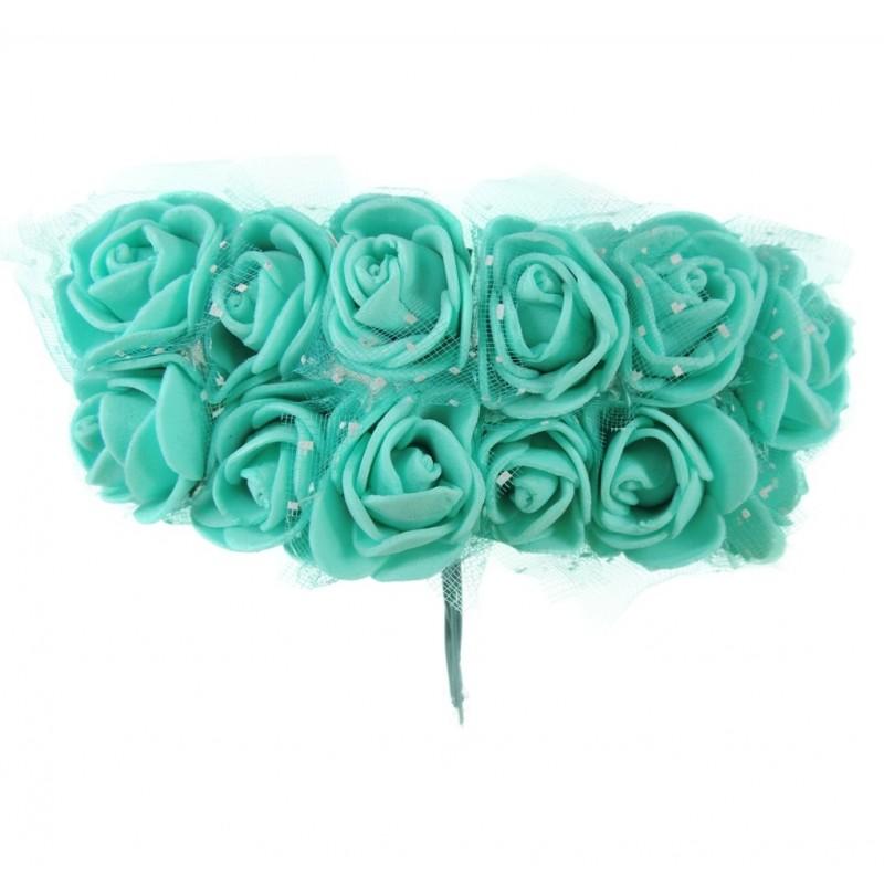 Mini Rosa Foam / Tull Ø 25 mm Turquesa