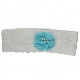 Liga Algodon Encaje Flor Azul