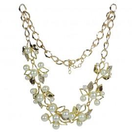 Collar Perlas en Rama Dorado