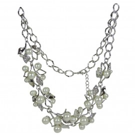 Collar Perlas en Rama Plateado