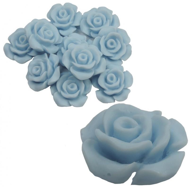 Rosa Resina 13 mm Celeste (10 uds)