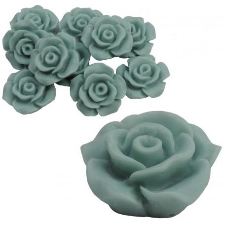 Rosa Resina 13 mm Verde Azulado (10 uds)