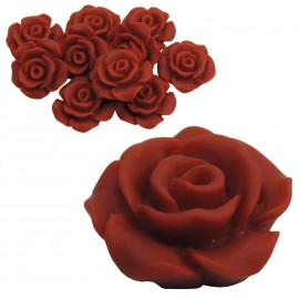 Rosa Resina 13 mm Rojo Oscuro (10 uds)