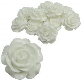 Rosa Resina 20 mm Blanca (10 uds)