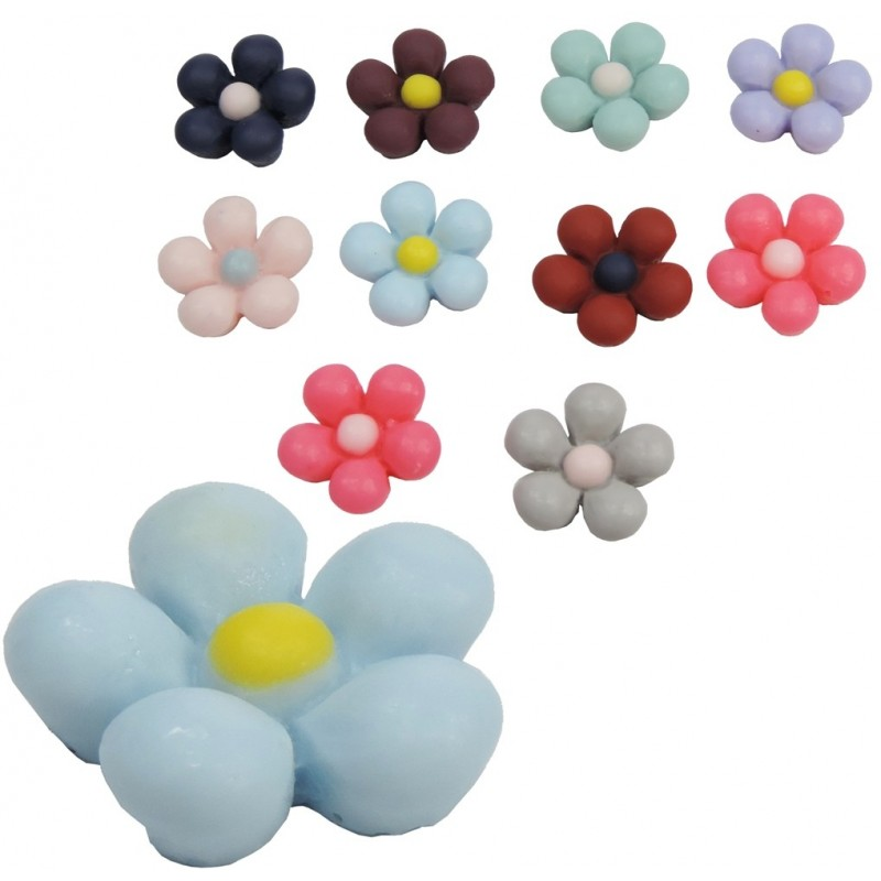 Flor Colores Resina 13mm (10ud)