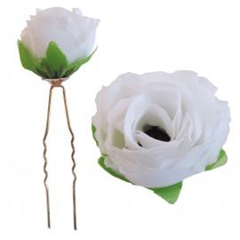Horquilla Rosa Grande Tela con Diamante