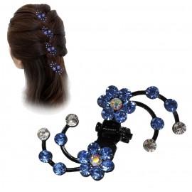 Pinza Pelo 2 Flores Azul